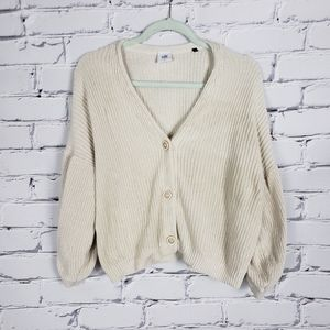 Cabi Cream Cotton Knit Cardigam